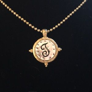 Brass ball chain with J 3/4 inch pendant NWT